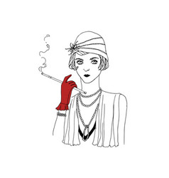 Portrait of young beautiful flapper girl wearing vector
