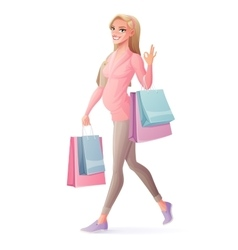 Pregnant woman walking with shopping bags vector