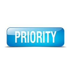 Priority blue square 3d realistic isolated web vector