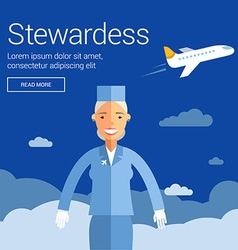 Profession people stewardess flat design concept vector