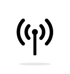 Radio antenna sending signal icon on white vector