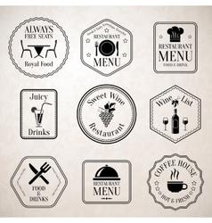 Restaurant menu labels black vector image
