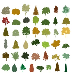 Set of retro silhouette trees vector image