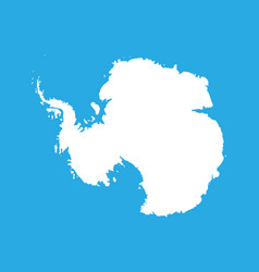 Silhouette map af antarctica high detailed white vector