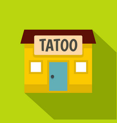 Tattoo salon building icon flat style vector