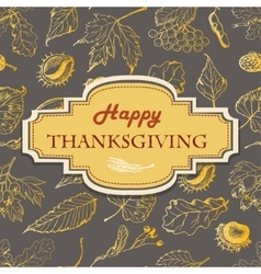 Thanksgiving background with leaves and vector image