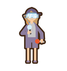 Woman with virtual reality glasses simulation vector
