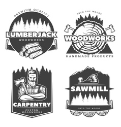 Woodworks Lumberjack Design Elements vector image