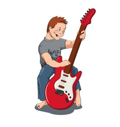 Boy with gitar vector