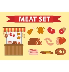 Meat and sausages icon set flat style vector