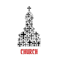 Church icon religion cross christianity symbols vector
