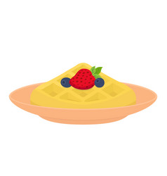 Sweet waffle with berries strawberry blueberry vector