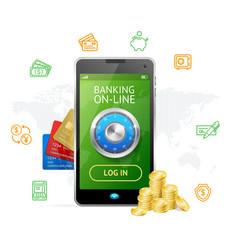 Banking online concept mobile phone app vector