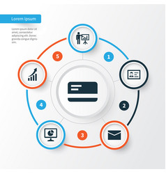 Business icons set collection of increasing vector