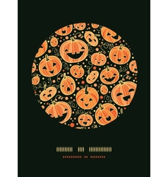 Halloween pumpkins circle decor pattern background vector