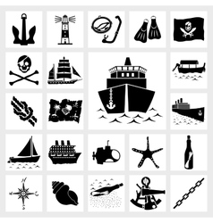 Icon set nautical vector