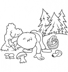 mushroom picking vector image