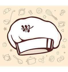 Set of contour kitchen icons with big chef cap in vector