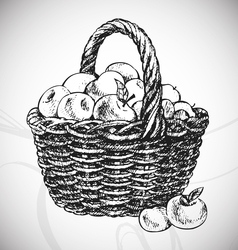 Apple basket vector