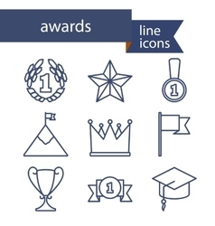 Set of line icons for award success and victory vector