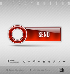 Red plastic button on the gray background design vector