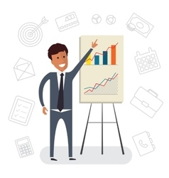 Businessman with presentation growing chart flat vector