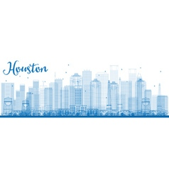 Outline Houston Skyline with Blue Buildings vector image