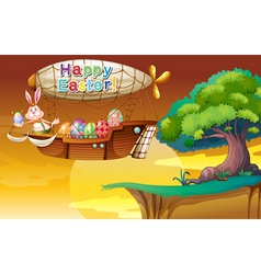 A bunny holding an egg in the airship vector image vector image