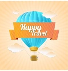Air ballon blue sky and slogan travel vector