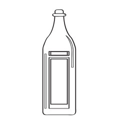 bottle of wine outline vector image vector image