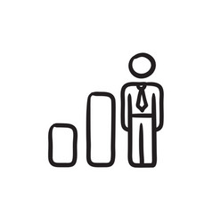 Businessman and graph sketch icon vector