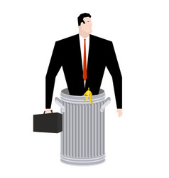 businessman in trash can business of garbage tie vector image vector image