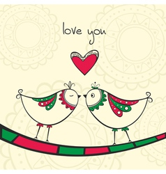 Card with kissing birds in love vector image vector image