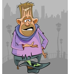 cartoon homeless man begging for money vector image
