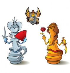 chess set queens vector image vector image