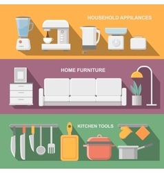 Concept of modern kitchen Flat horizontal banners vector image vector image