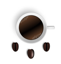 Cup of coffee and beans on white vector