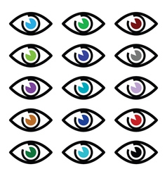 Eye colors sight icons set - icons set vector image