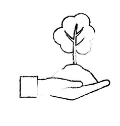 Figure hand with natural tree and ground icon vector