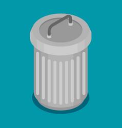 flat steel bin icon vector image