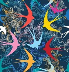 Graphic seamless pattern with colorful swallows vector image