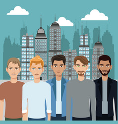 group men diversity urban background vector image