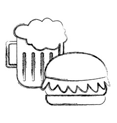 hamburger and beer symbol vector image