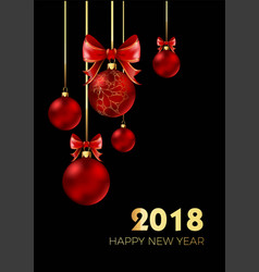happy new year 2018 postcard with christmas tree vector image
