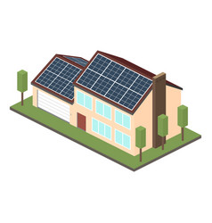 Icon isometric house with solar panels vector