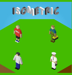 Isometric human set of seaman guy plumber and vector