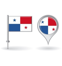 Panamanian pin icon and map pointer flag vector image
