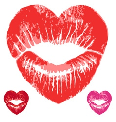 red heart lips set vector image vector image
