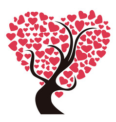 red heart tree vector image vector image