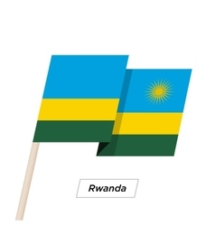 Rwanda ribbon waving flag isolated on white vector